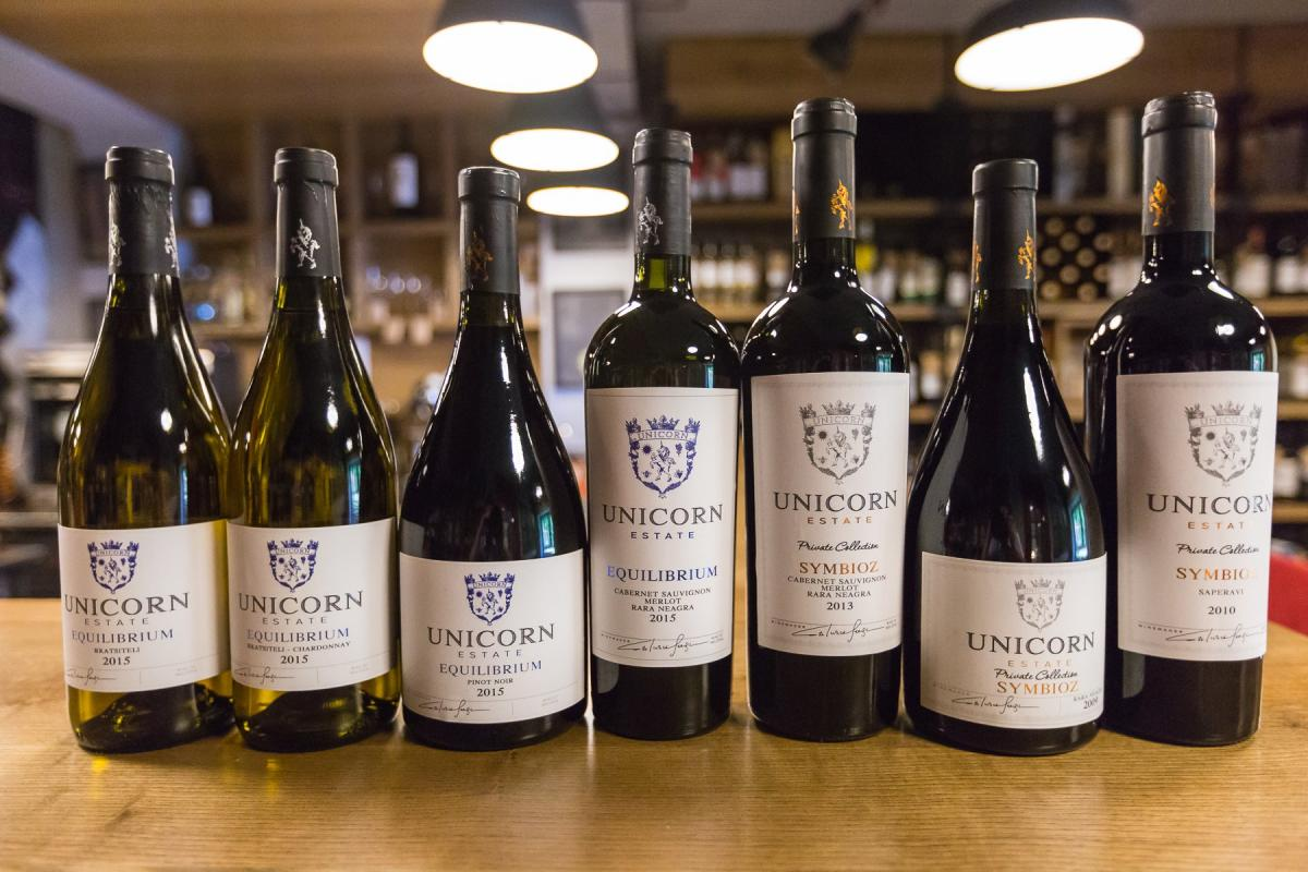 Unicorn Winery wines at enoteca